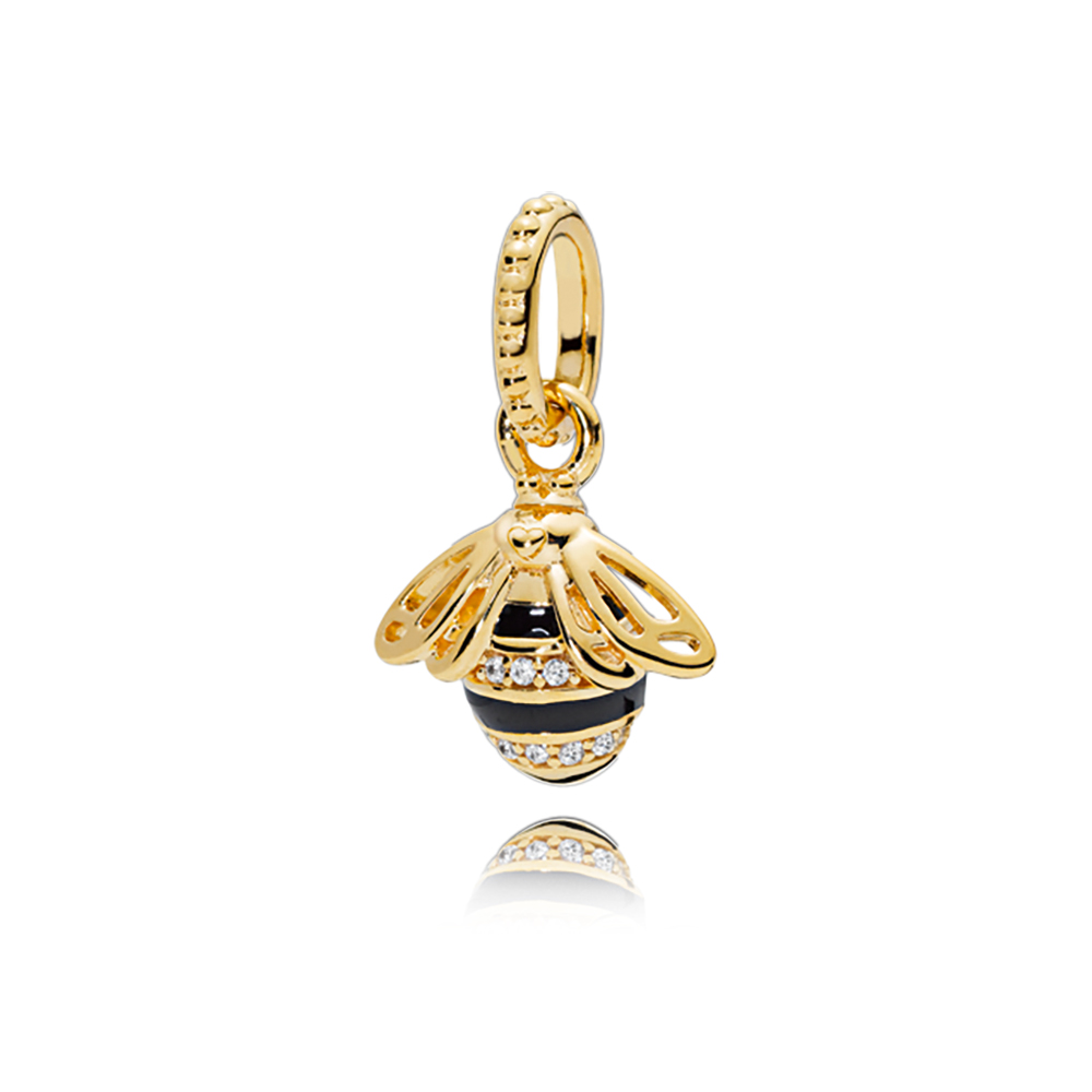 Queen Bee Pendant, PANDORA Shine™, Black Enamel & Clear CZ