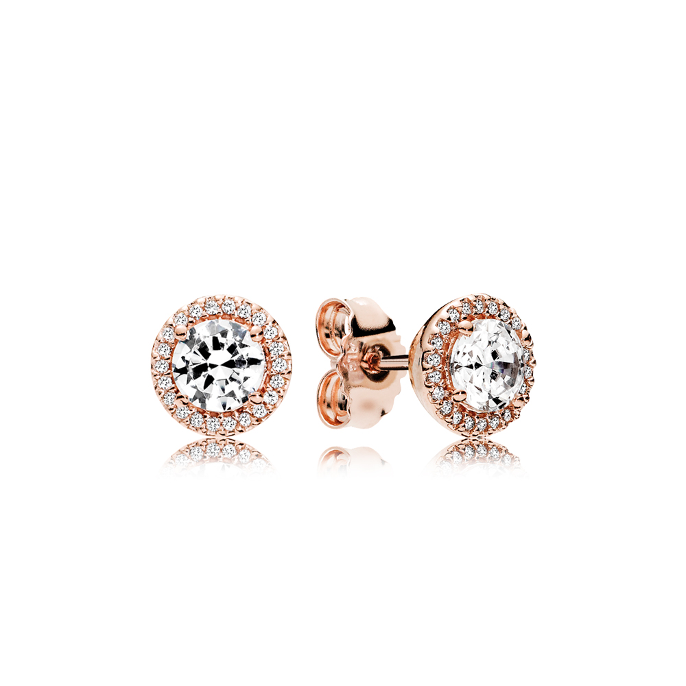 Classic Elegance Stud Earrings, PANDORA Rose™ & Clear CZ
