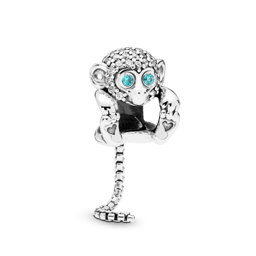 Sparkling Monkey Charm, Sterling silver, Cubic Zirconia - PANDORA - #798054CZ