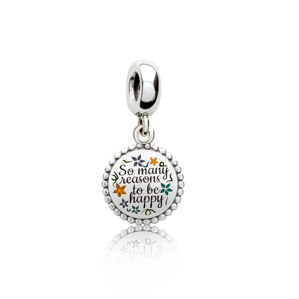 There Are So Many Beautiful Reasons to Be HAPPY Dangle Charm, Mixed Enamel