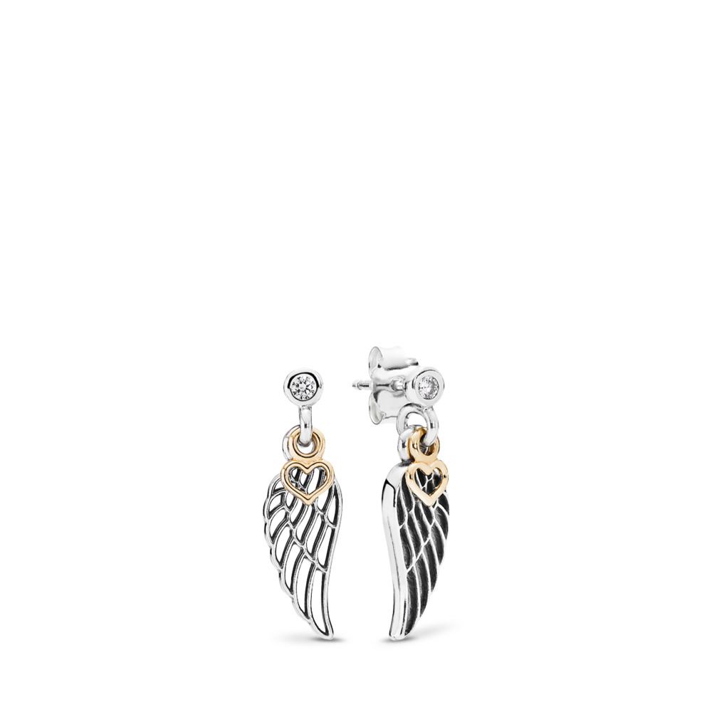 Love & Guidance Drop Earrings, Clear CZ, Two Tone, Cubic Zirconia - PANDORA - #290583CZ