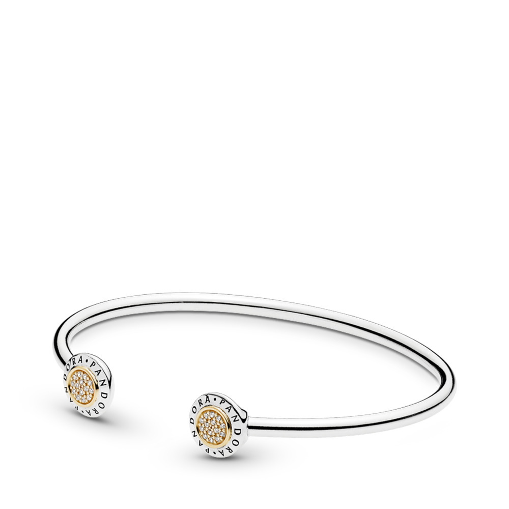 PANDORA Signature Bangle Bracelet, Clear CZ, Two Tone, Cubic Zirconia - PANDORA - #596274CZ