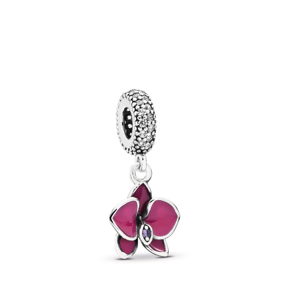 Orchid Dangle Charm, CZ & Radiant Orchid-Colored Enamel, Sterling silver, Enamel, Purple, Cubic Zirconia - PANDORA - #791554EN69