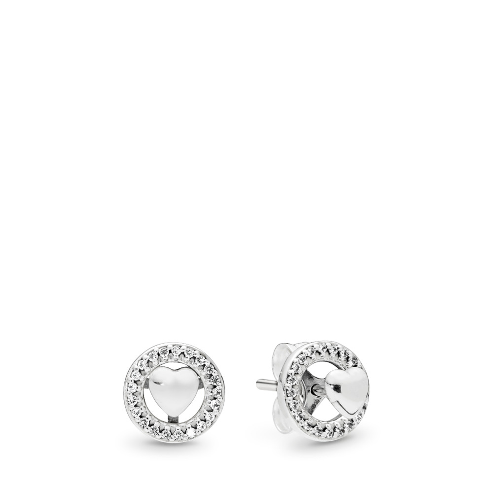 Forever PANDORA Hearts Earrings, Clear CZ, Sterling silver, Cubic Zirconia - PANDORA - #297709CZ