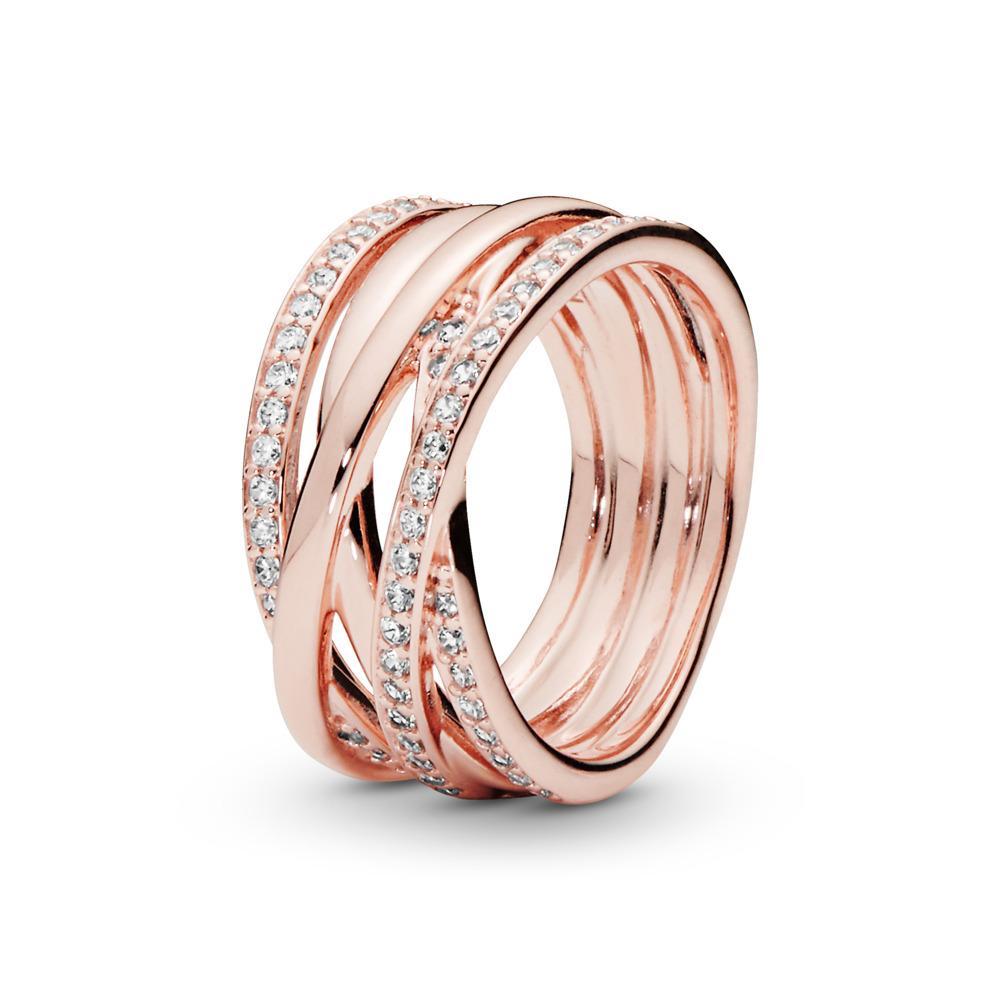 Sparkling & Polished Lines Ring, PANDORA Rose, Cubic Zirconia - PANDORA - #180919CZ