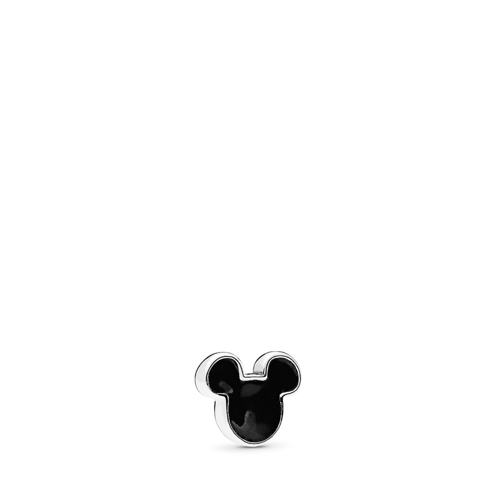 Disney, Mickey Icon Petite Locket Charm, Black Enamel, Sterling silver, Enamel, Black - PANDORA - #796344EN16