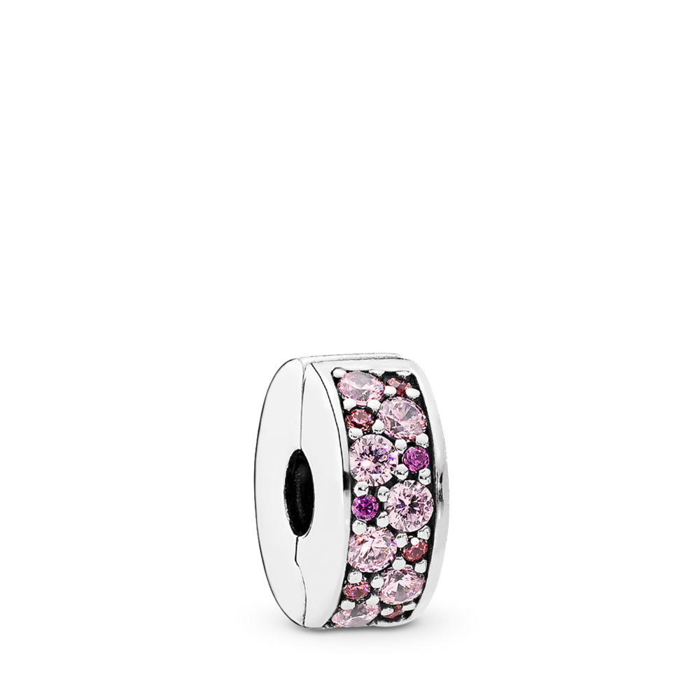 Mosaic Shining Elegance Clip, Fancy Pink & Fancy Purple CZ, Sterling silver, Silicone, Pink, Cubic Zirconia - PANDORA - #791817CZSMX