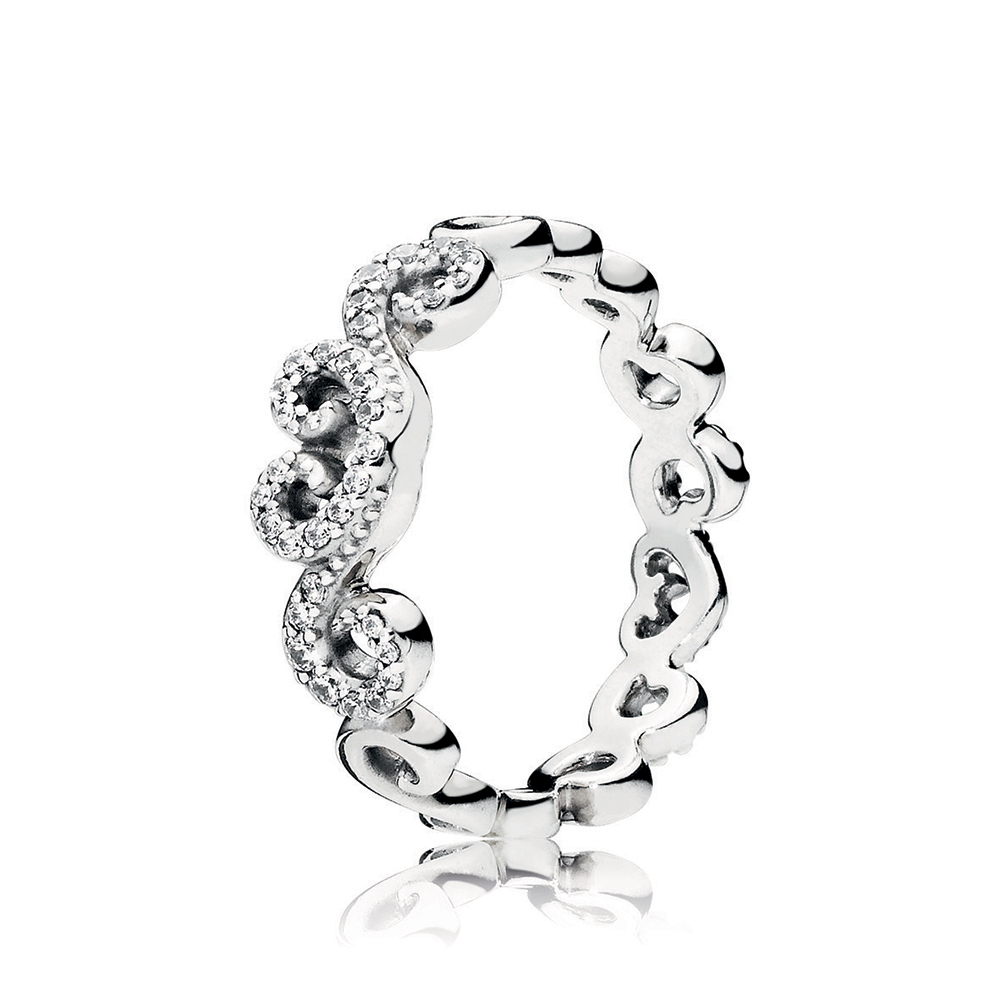 Heart Swirls Ring, Clear CZ