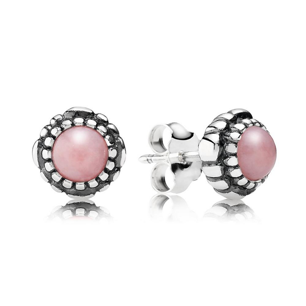 Birthday Blooms Stud Earrings, October, Pink Opal