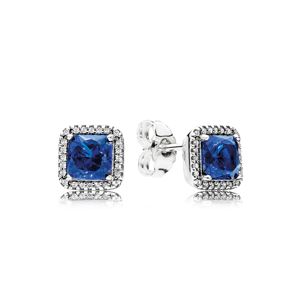 Timeless Elegance Stud Earrings, True Blue Crystals & Clear CZ