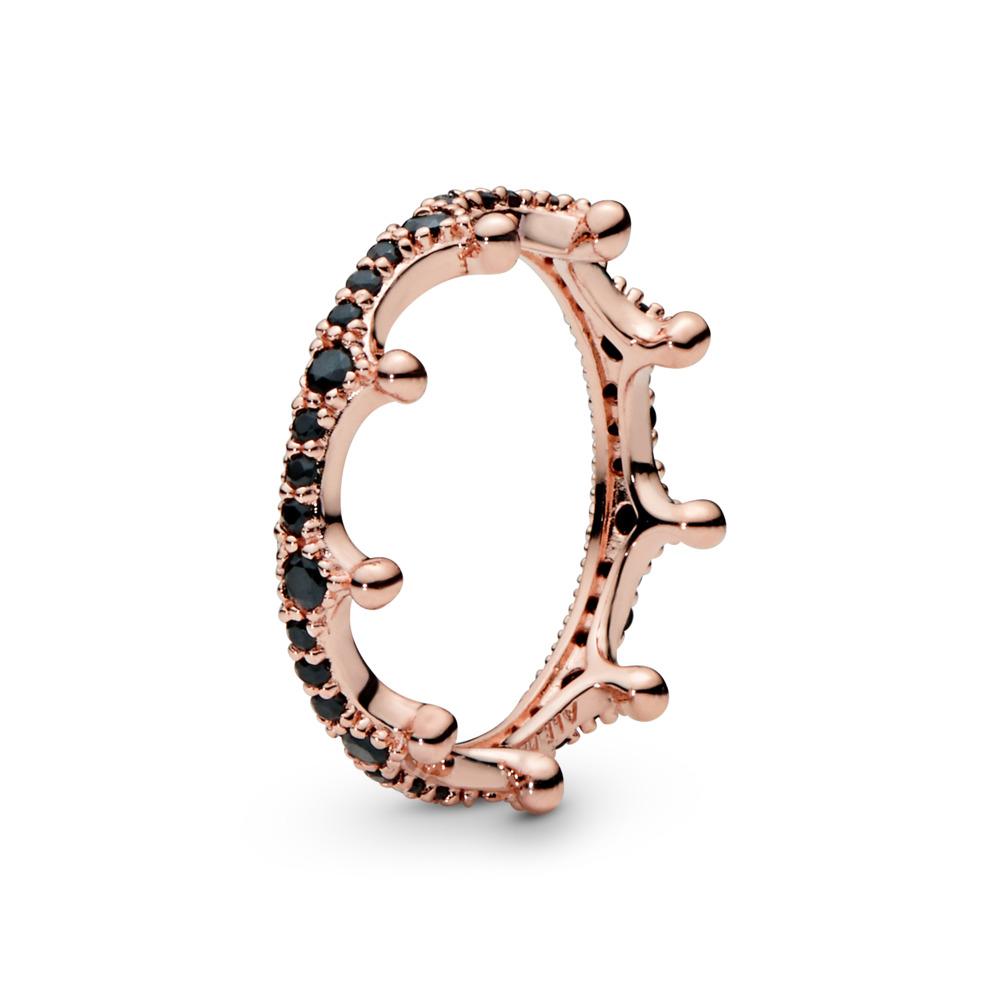 Enchanted Crown Ring, PANDORA Rose™ & Black Crystal