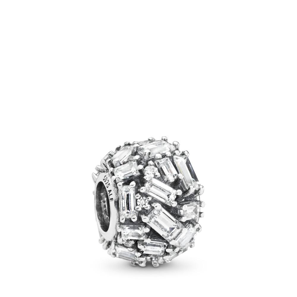 Chiselled Elegance Charm, Clear CZ, Sterling silver, Cubic Zirconia - PANDORA - #797746CZ
