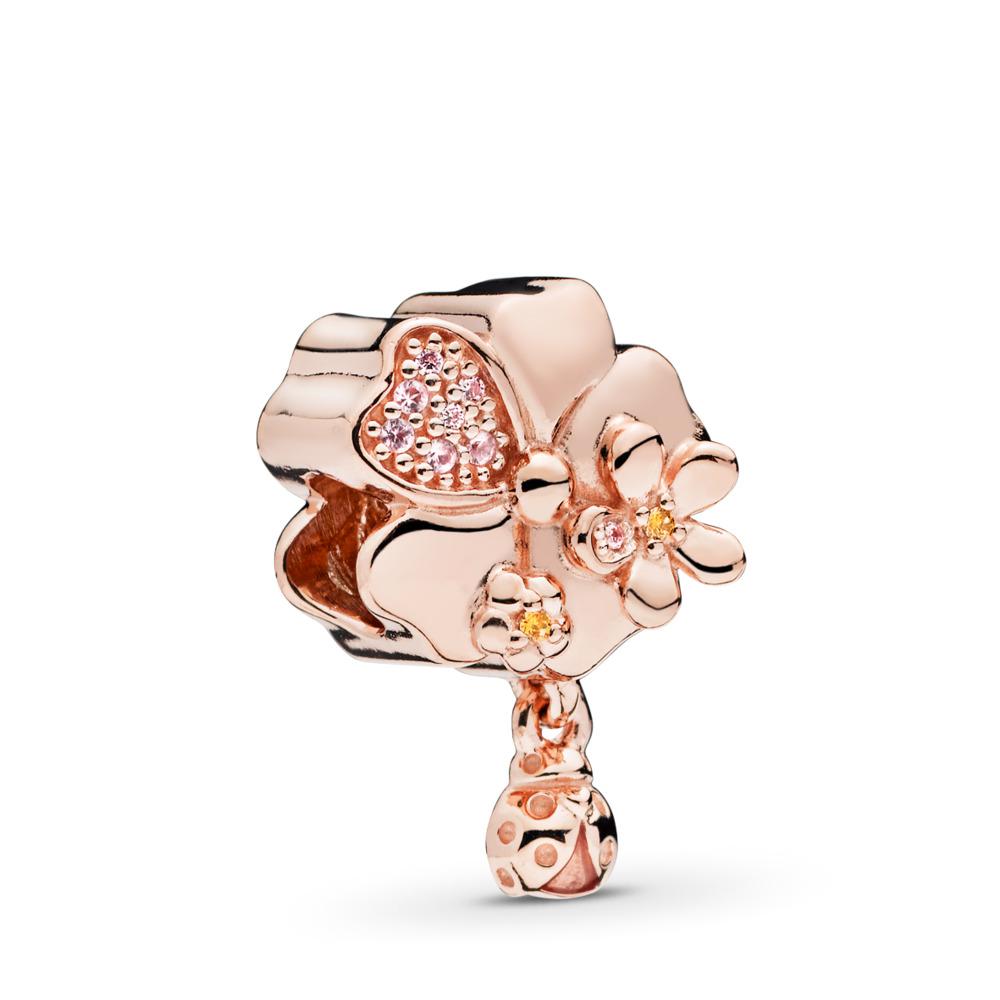 Wildflower Meadow Charm, PANDORA Rose™, Blush Pink Crystal & Pink Enamel, PANDORA Rose, Enamel, Pink, Mixed stones - PANDORA - #787026NPR