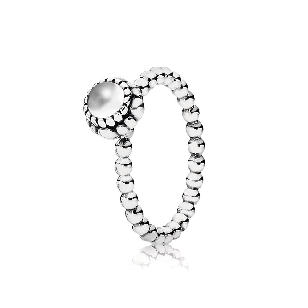 Birthday Blooms Ring, April, Rock Crystal, Sterling silver, Rock crystal - PANDORA - #190854BK