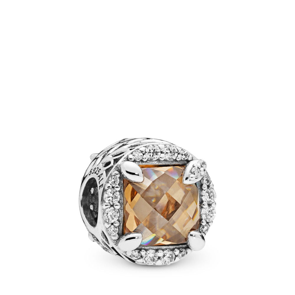 Radiant Grains of Energy Charm, Clear & Golden Colored CZ, Sterling silver, Gold, Cubic Zirconia - PANDORA - #797650CCZ