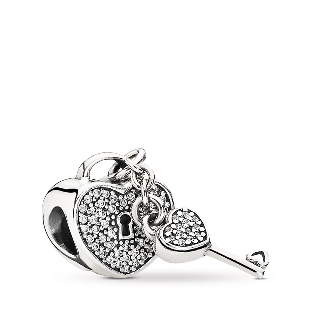 Lock Of Love Charm, Clear CZ, Sterling silver, Cubic Zirconia - PANDORA - #791429CZ