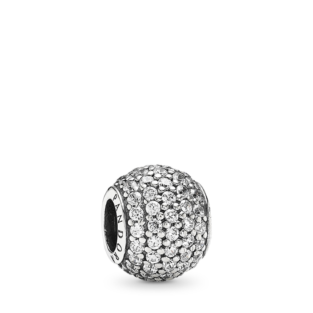 Pavé Lights Charm, Clear CZ, Sterling silver, Cubic Zirconia - PANDORA - #791051CZ