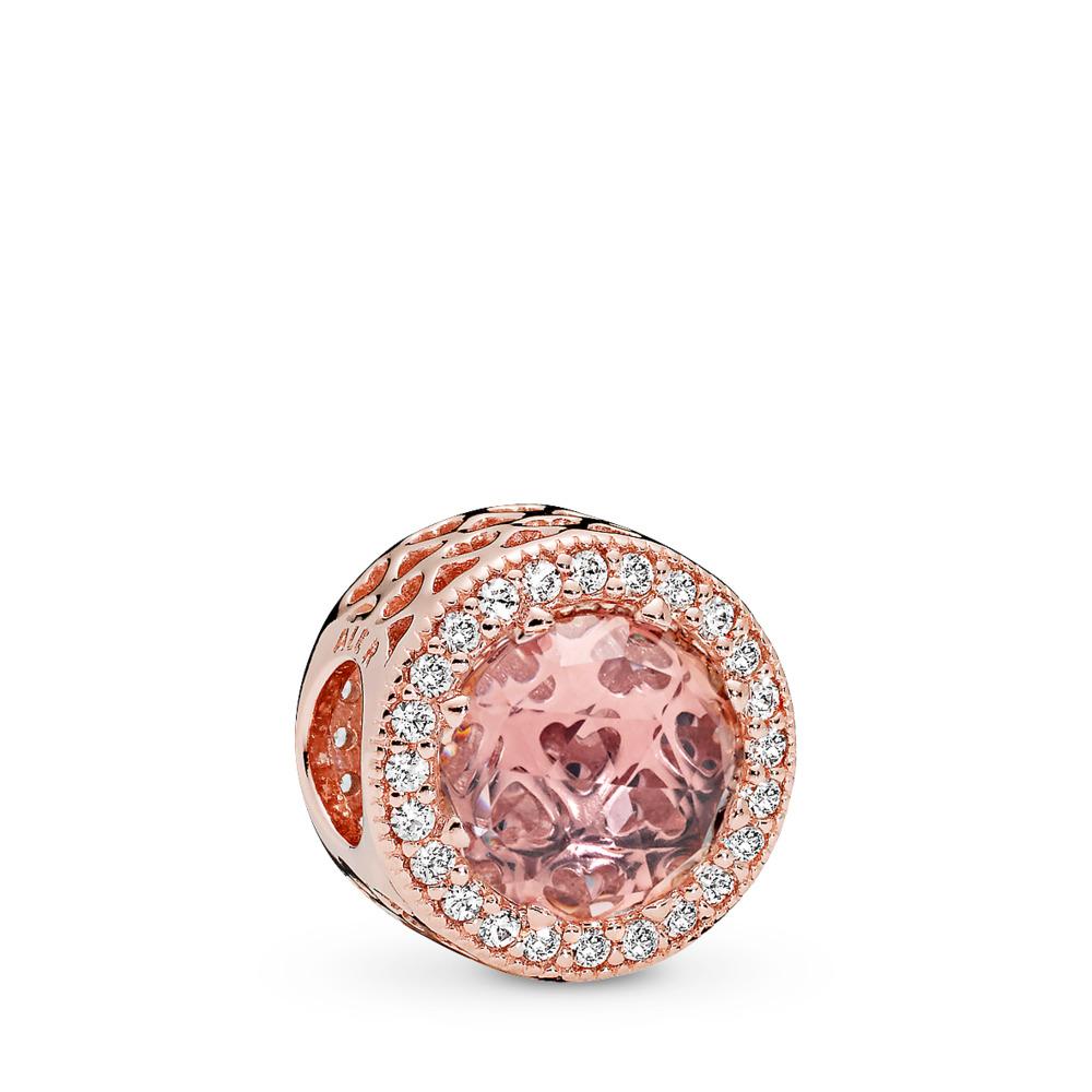 Radiant Hearts Charm, PANDORA Rose™, Blush Pink Crystal & Clear CZ, PANDORA Rose, Pink, Mixed stones - PANDORA - #781725NBP