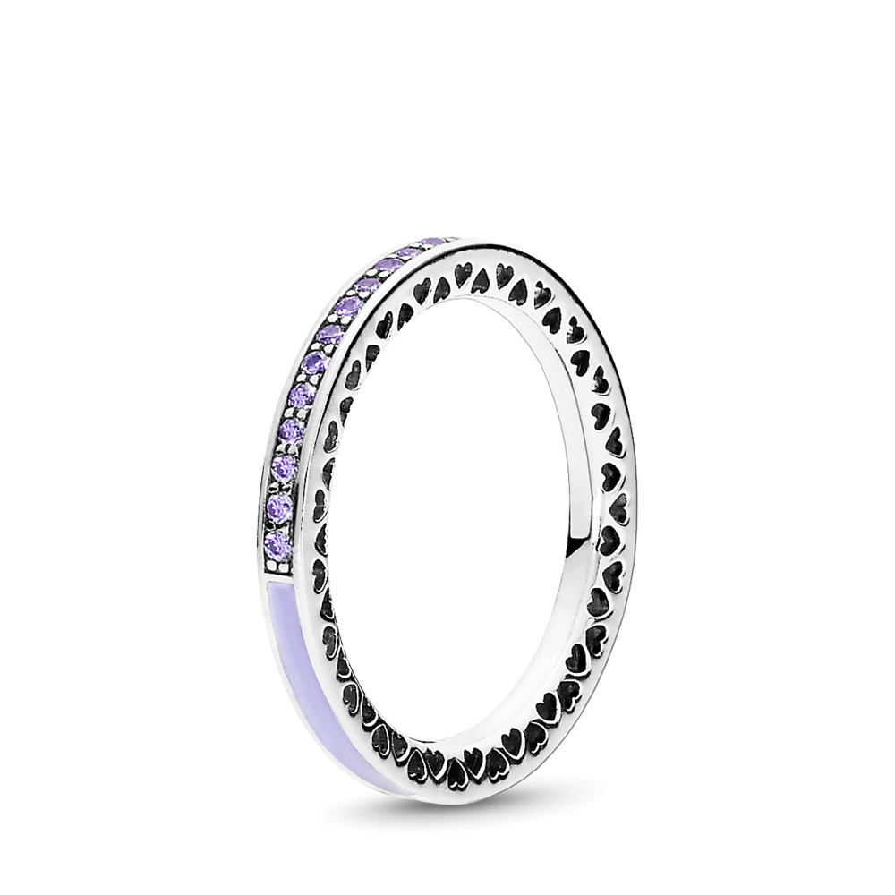 Radiant Hearts of PANDORA Ring, Lavender Enamel & Clear CZ, Sterling silver, Enamel, Purple, Cubic Zirconia - PANDORA - #191011ACZ