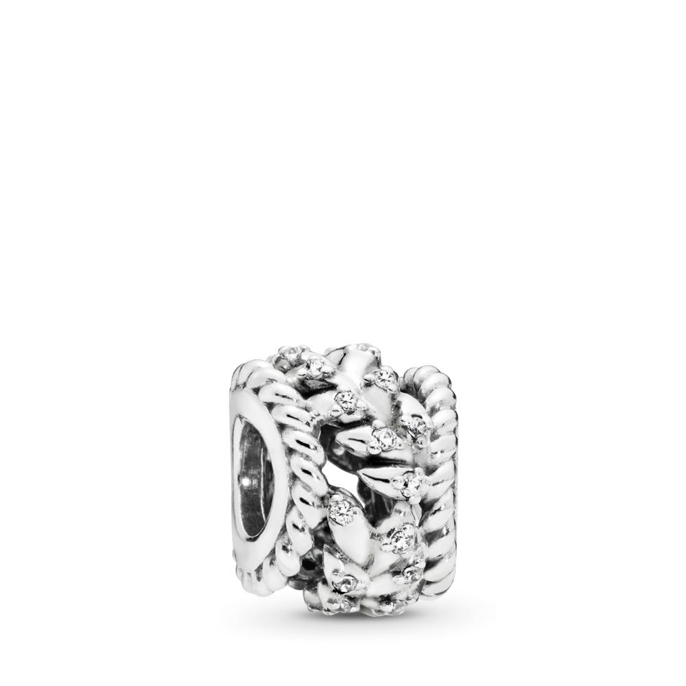 Dazzling Grain Swirls Charm, Clear CZ, Sterling silver, Cubic Zirconia - PANDORA - #797597CZ
