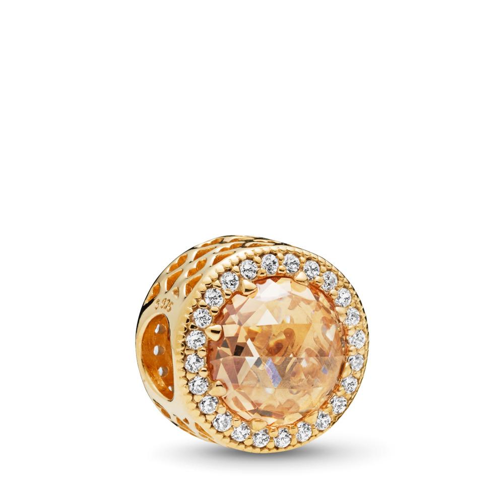 Radiant Hearts Charm, PANDORA Shine™ & Multi-Colored CZ, 18ct Gold Plated, Gold, Cubic Zirconia - PANDORA - #761725CLG