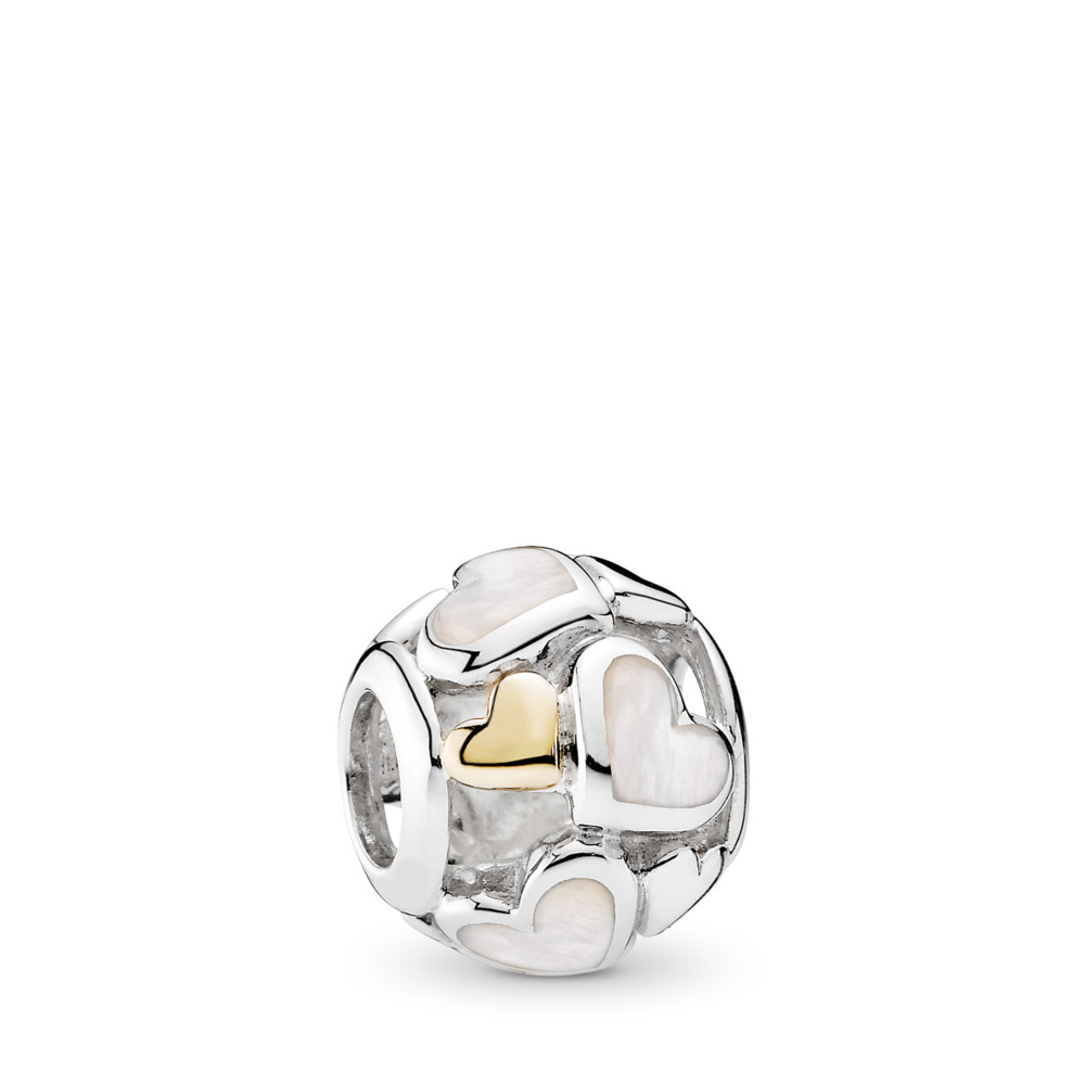 Luminous Hearts Charm, Mother-Of-Pearl & 14K Gold, Two Tone, Mother of pearl - PANDORA - #791879MOP