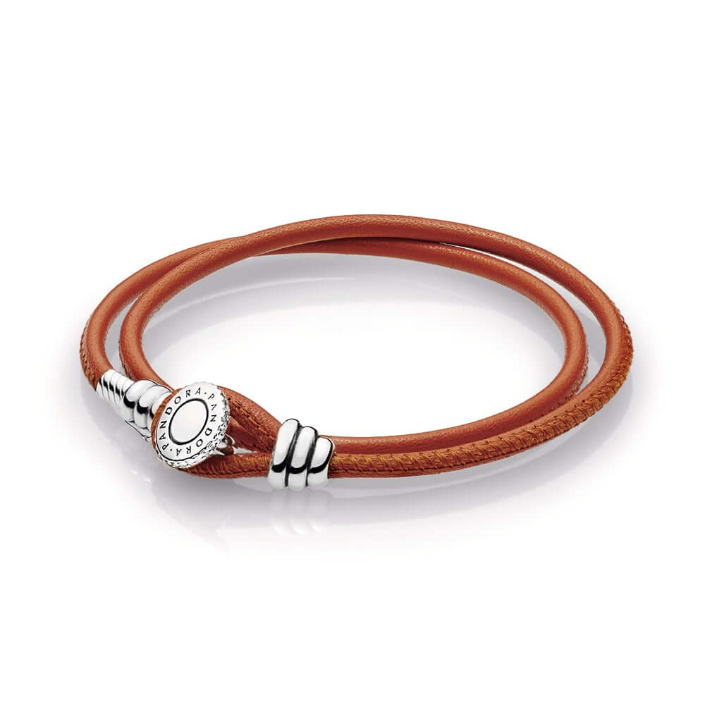 Spicy Orange Double Leather Bracelet, Clear CZ