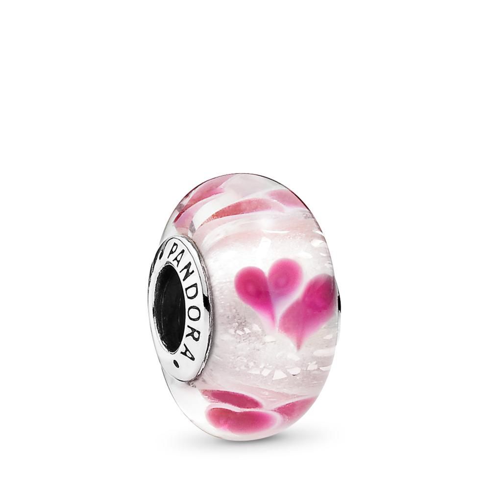 Wild Hearts Charm, Murano Glass, Sterling silver, Glass, Pink - PANDORA - #791649