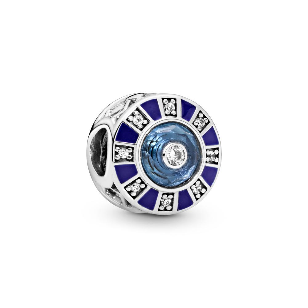 Mosaic Charm, Sterling silver, Enamel, Blue, Mixed stones - PANDORA - #798031EN195