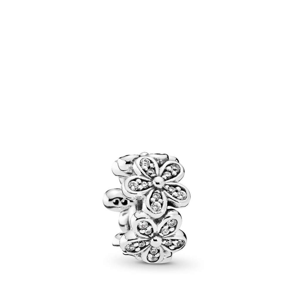 Dazzling Daisies Spacer, Clear CZ, Sterling silver, Cubic Zirconia - PANDORA - #792053CZ