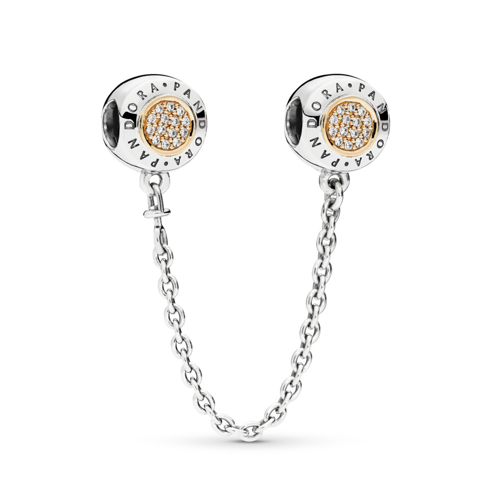 PANDORA Signature Safety Chain, Clear CZ, Two Tone, Cubic Zirconia - PANDORA - #796269CZ