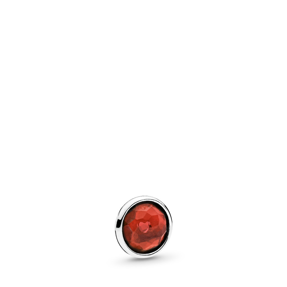 January Droplet Petite Locket Charm, Sterling silver, Garnet - PANDORA - #792175GR