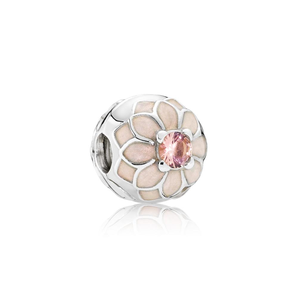 Blooming Dahlia Clip, Cream Enamel & Blush Pink Crystal, Sterling silver, Enamel, Beige, Crystal - PANDORA - #791828NBP