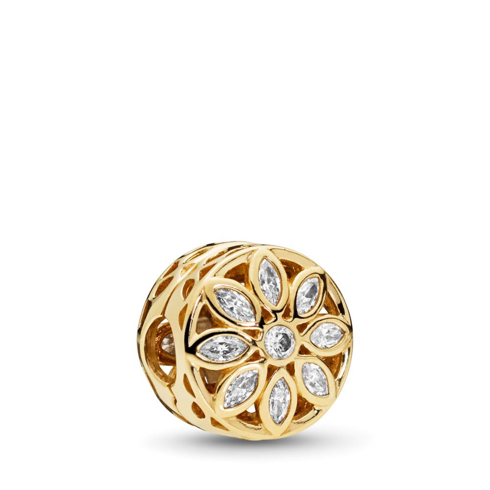 Opulent Flower Charm, 14K Gold & Clear CZ, Yellow Gold 14 k, Cubic Zirconia - PANDORA - #757639CZ