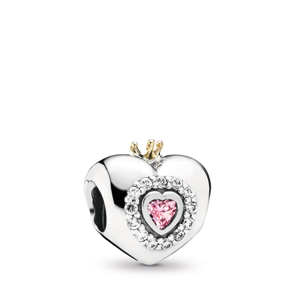 Princess Heart Charm, Pink CZ, Two Tone, Pink, Cubic Zirconia - PANDORA - #791375PCZ
