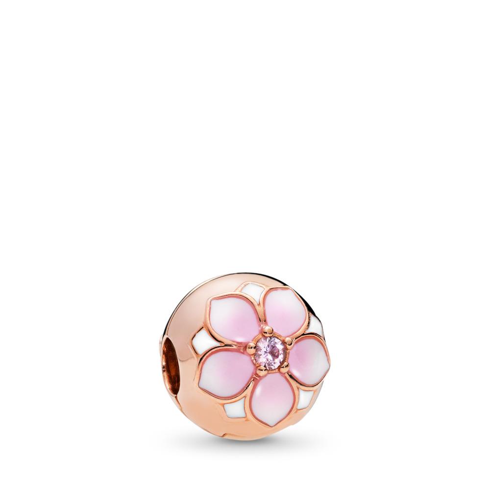 Magnolia Bloom Clip, PANDORA Rose™, Blush Pink Crystal & Mixed Enamel, PANDORA Rose, Enamel, Pink, Crystal - PANDORA - #782078NBP