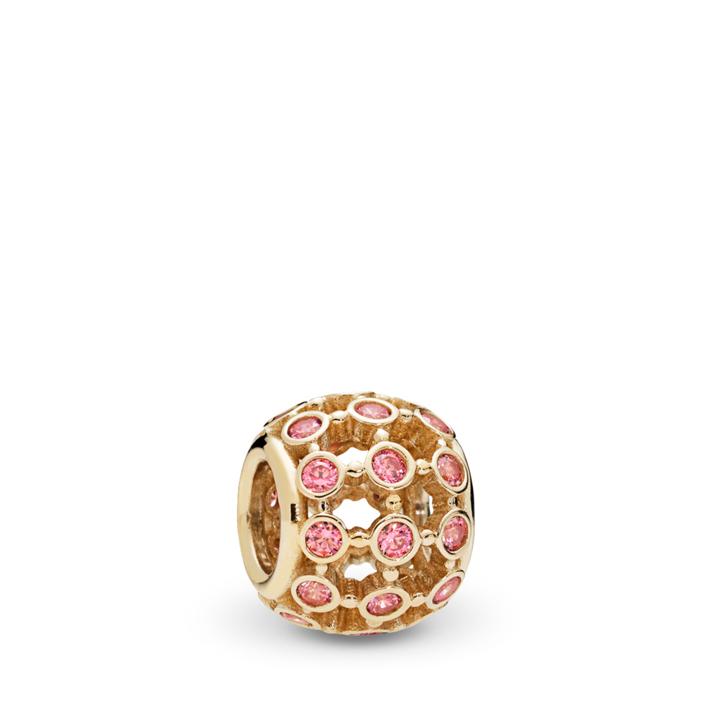 In the Spotlight Openwork Charm, 14K Gold & Fancy Pink CZ, Yellow Gold 14 k, Pink, Cubic Zirconia - PANDORA - #750825CZS