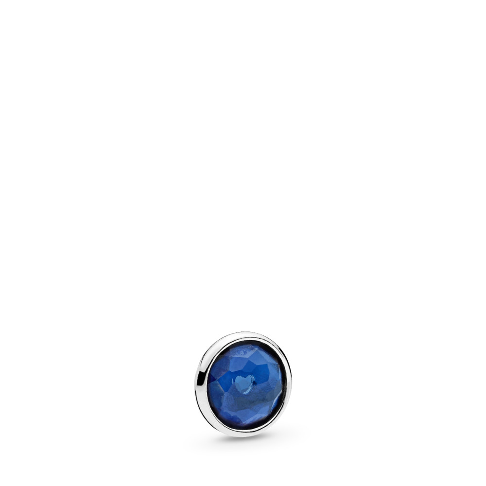 September Droplet Petite Locket Charm, Sterling silver, Synthetic sapphire - PANDORA - #792175SSA