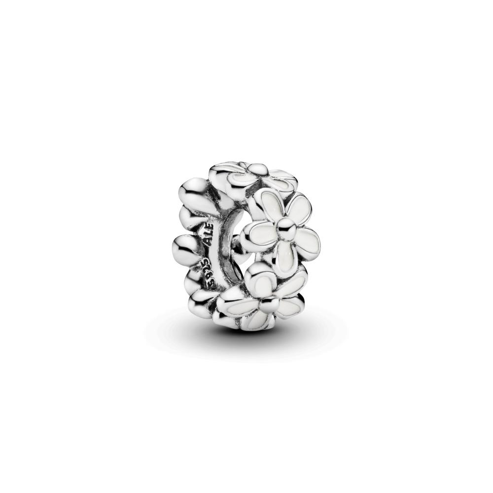 Darling Daisies Spacer, White Enamel, Sterling silver, Enamel, White - PANDORA - #791495EN12