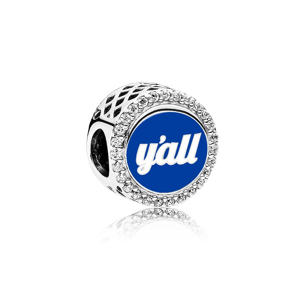 Y'all Charm, Mixed Enamel, Sterling silver, Enamel, Blue, Cubic Zirconia - PANDORA - #ENG792016CZ_31