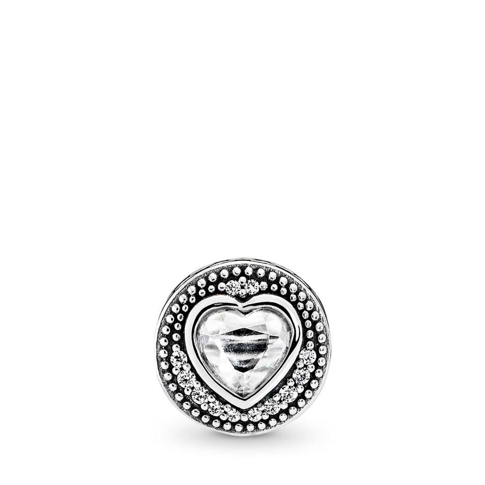 PASSION Charm, Clear CZ, Sterling silver, Silicone, Cubic Zirconia - PANDORA - #796081CZ