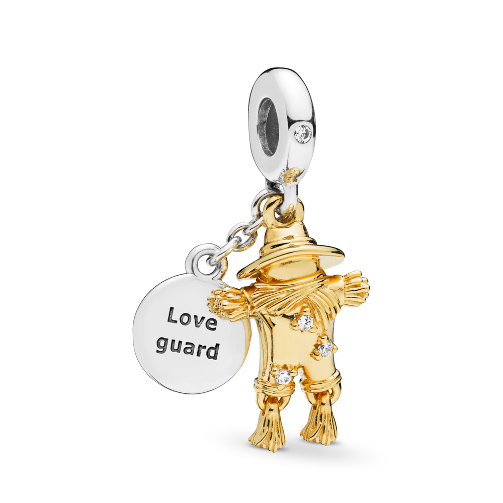 Scarecrow Guardian Dangle Charm, PANDORA Shine™ & Clear CZ, PANDORA Shine and sterling silver, Cubic Zirconia - PANDORA - #767629CZ