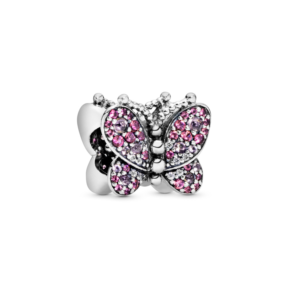 Dazzling Pink Butterfly Charm, Sterling silver, Pink, Mixed stones - PANDORA - #797882NCCMX