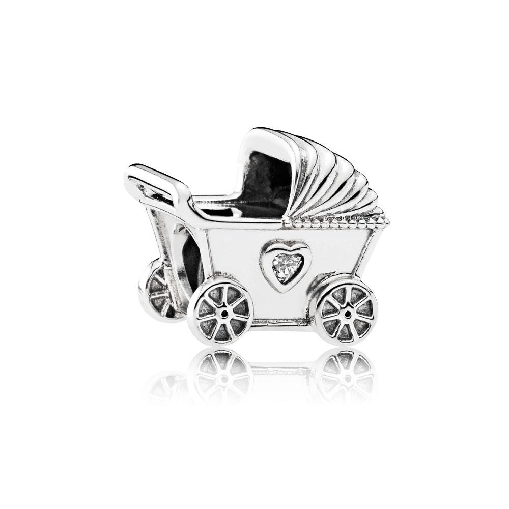 Baby's Pram Charm, Clear CZ