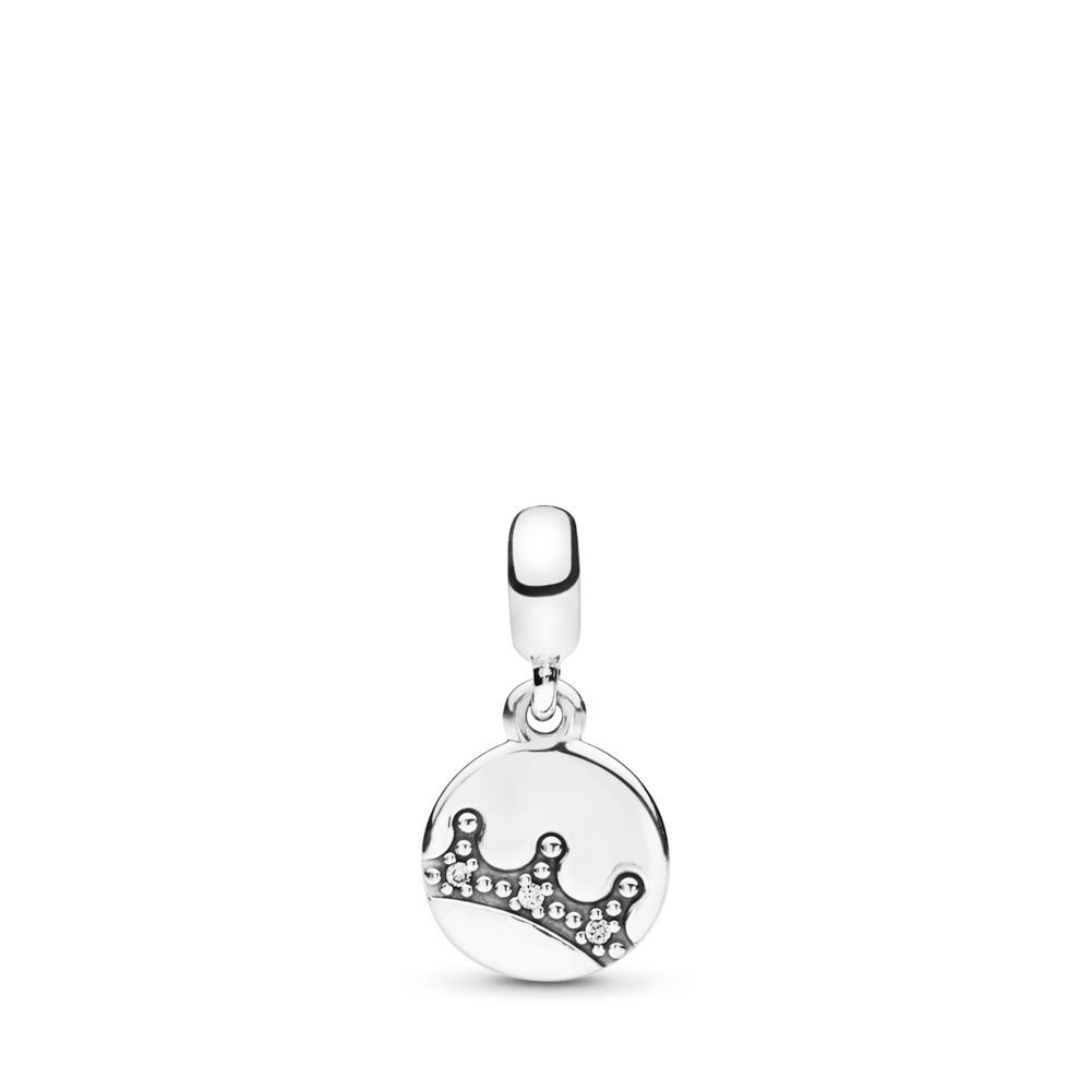 Dazzling Crown Dangle Charm, Clear CZ, Sterling silver, Cubic Zirconia - PANDORA - #797624CZ