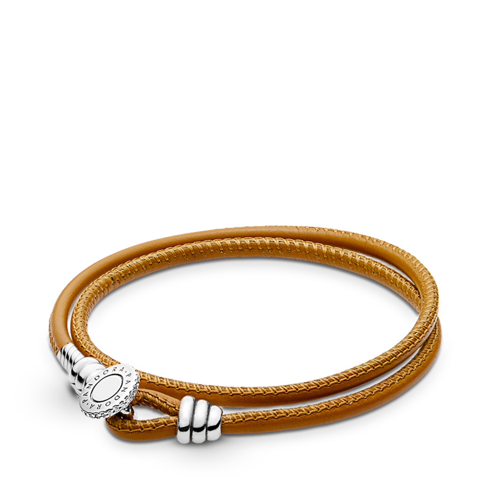 1258f5d5a Golden Tan Double Leather Bracelet, Clear CZ, Sterling silver, Leather,  Brown,
