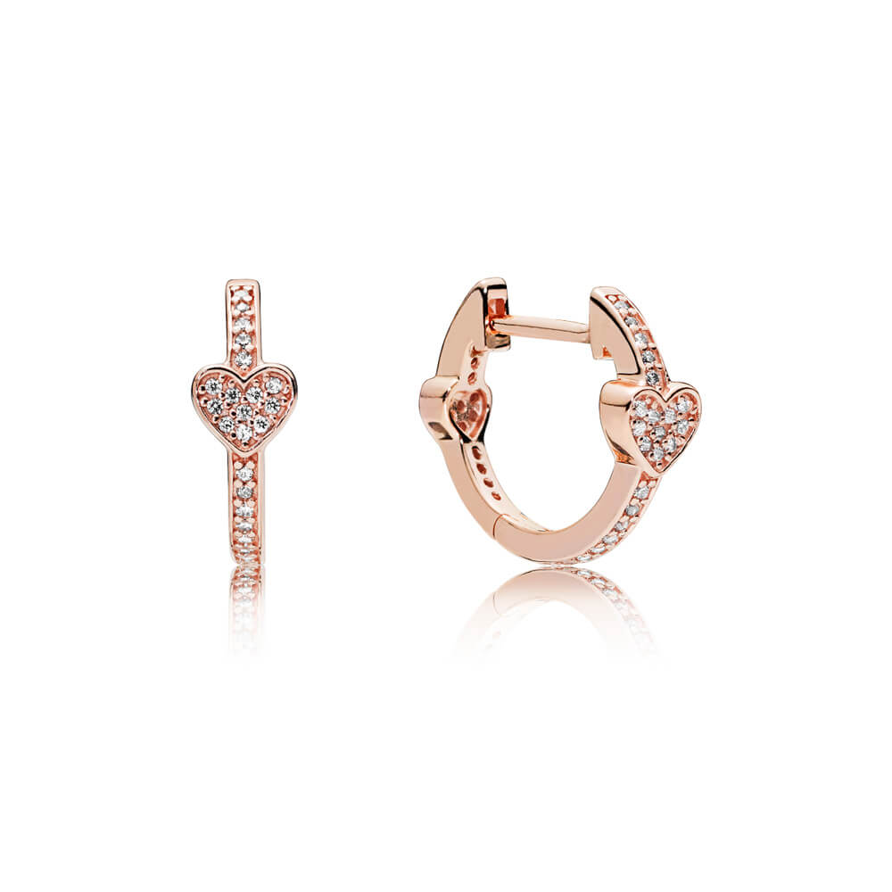Alluring Hearts Hoop Earrings, PANDORA Rose™ & Clear CZ