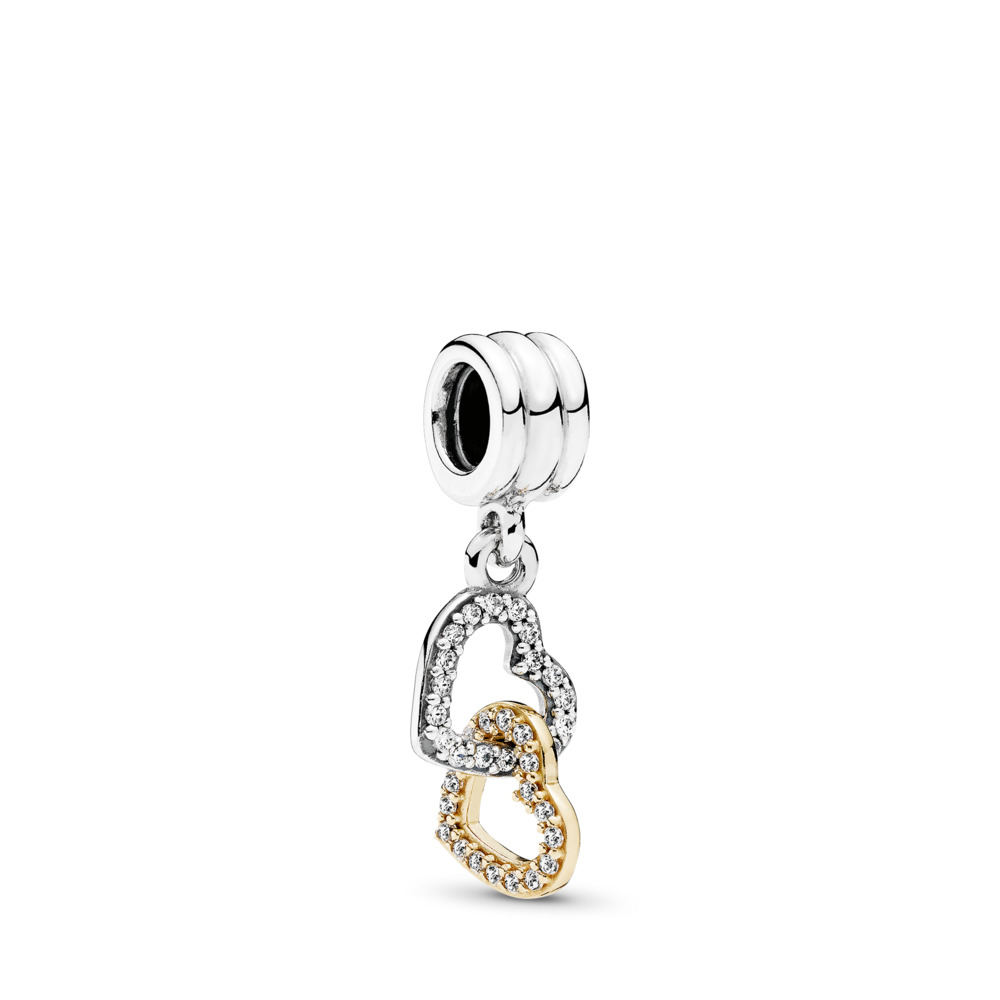 Interlocked Hearts Dangle Charm, Two Tone, Cubic Zirconia - PANDORA - #792068CZ