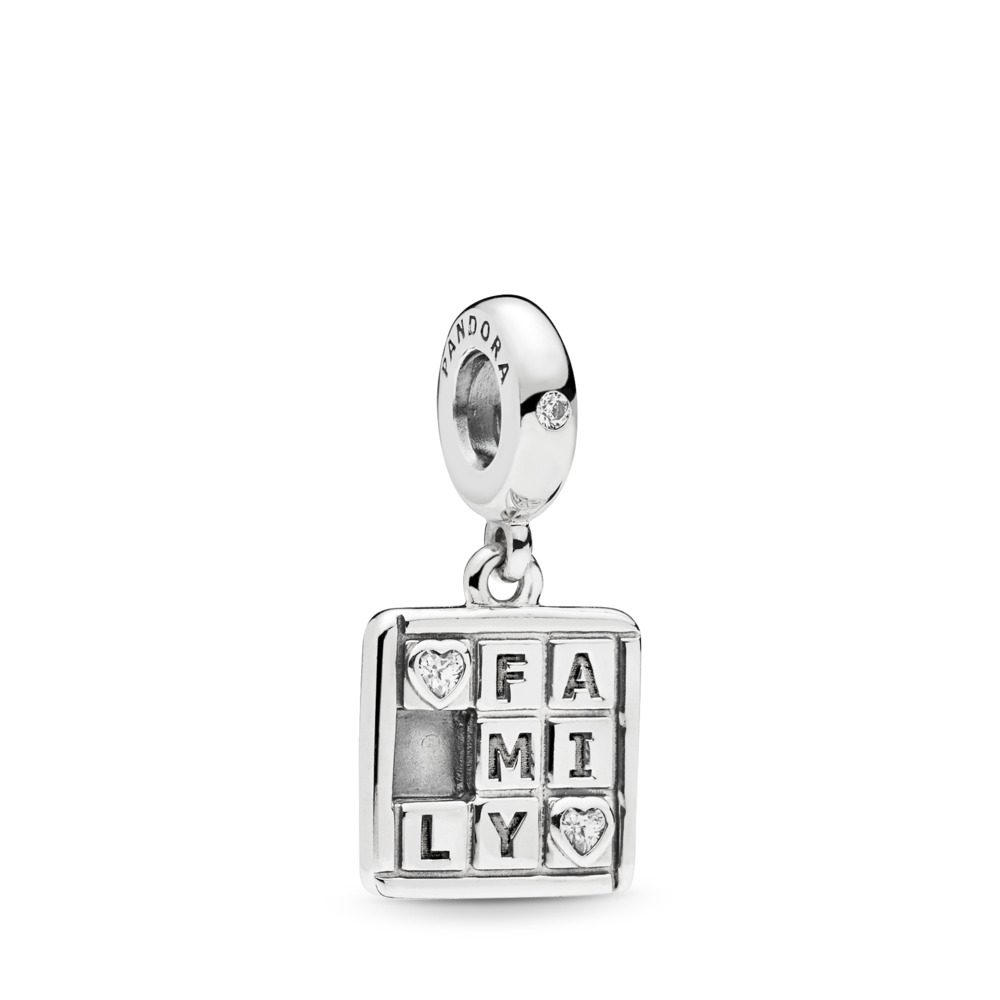 Family Game Night Dangle Charm, Clear CZ, Sterling silver, Cubic Zirconia - PANDORA - #797626CZ