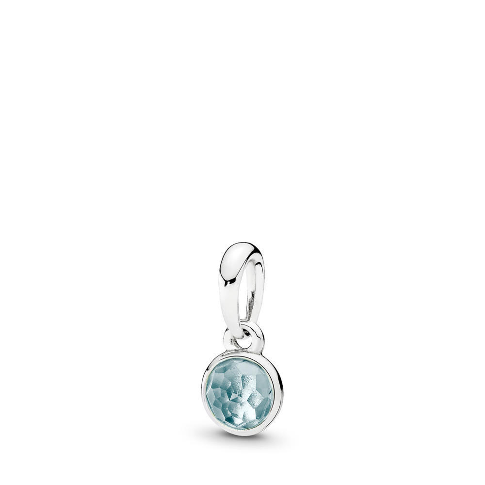 March Droplet Pendant, Aqua Blue Crystal, Sterling silver, Blue, Crystal - PANDORA - #390396NAB